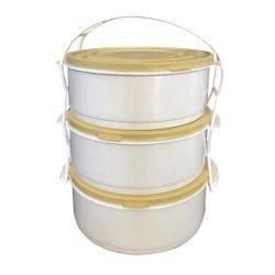 Ételhordó, műanyag, 3 részes, tetővel, vegyes színű