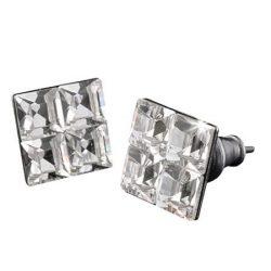 Fülbevaló, négyzet, fehér SWAROVSKI® kristállyal, 8mm, ART CRYSTELLA®