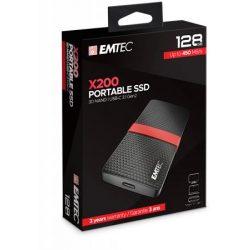 "SSD (külső memória), 128GB, USB 3.2, 420/450 MB/s, EMTEC ""X200"""