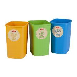 """Szelektív hulladékgyűjtő szemetes, műanyag, 3x9 liter, CURVER """"ECO Friendly"""""""